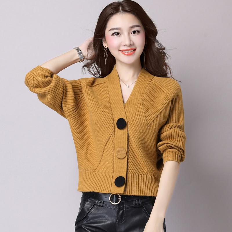 新款秋季针织衫女开衫短款宽松韩版长袖优惠券