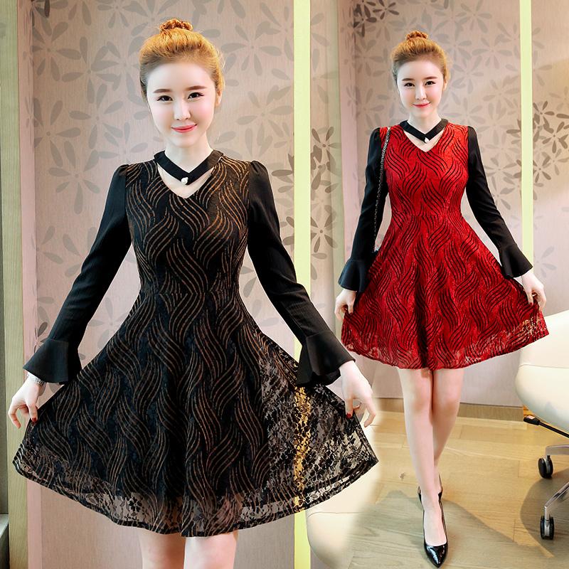 韩版秋装新款修身显瘦喇叭长袖连衣裙假两件优惠券