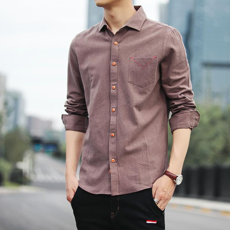 新款休闲港风青年韩版修身长袖衬衫优惠券