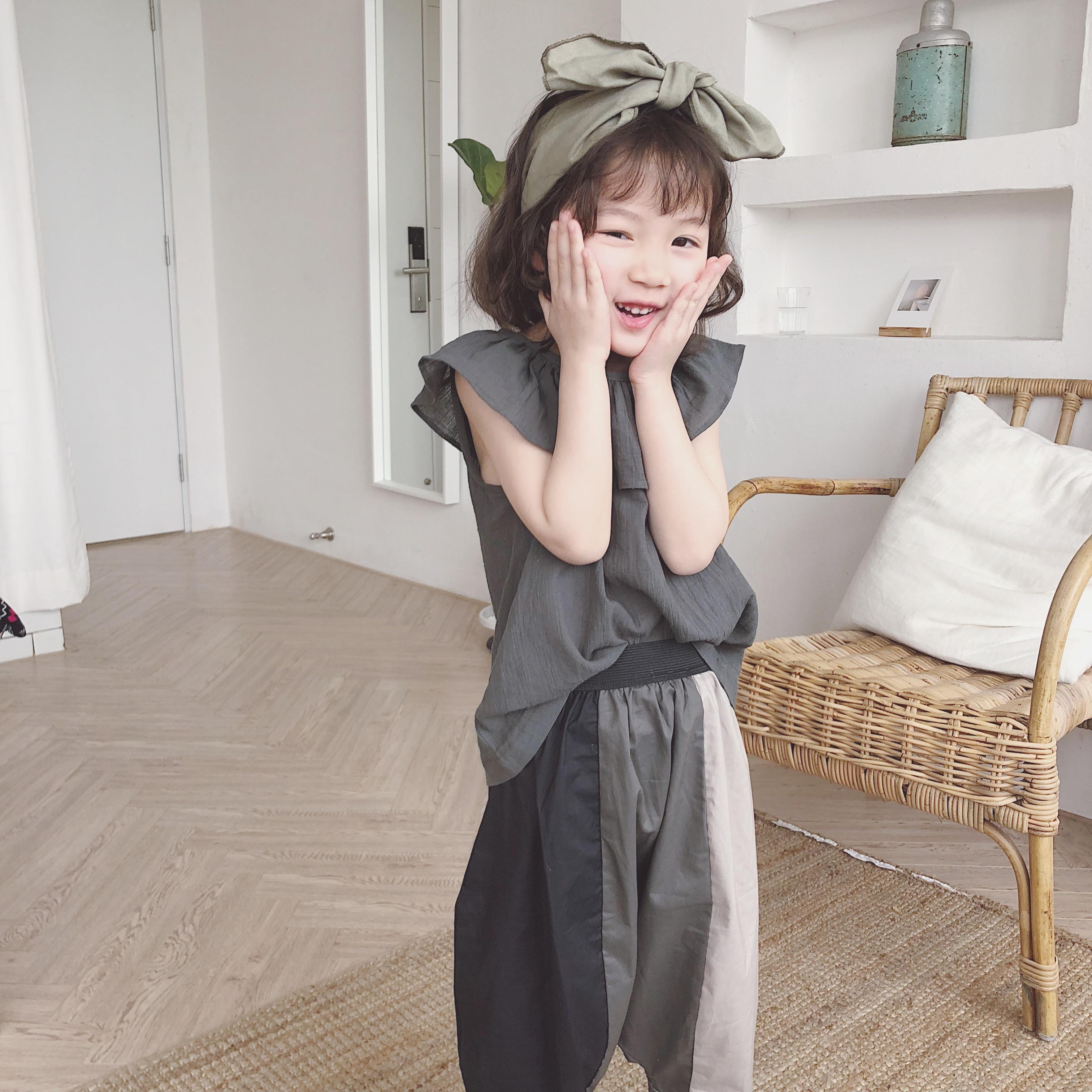 18夏韩国定制女童荷叶领无袖上衣优惠券