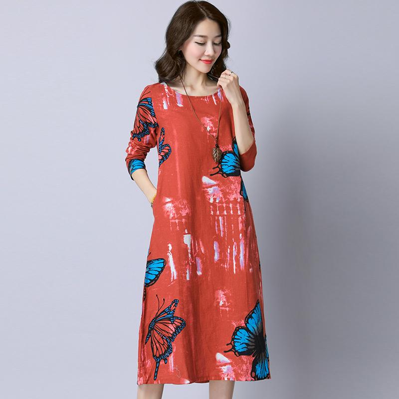 货到付款秋季新款妈妈棉麻打底连衣裙女装优惠券