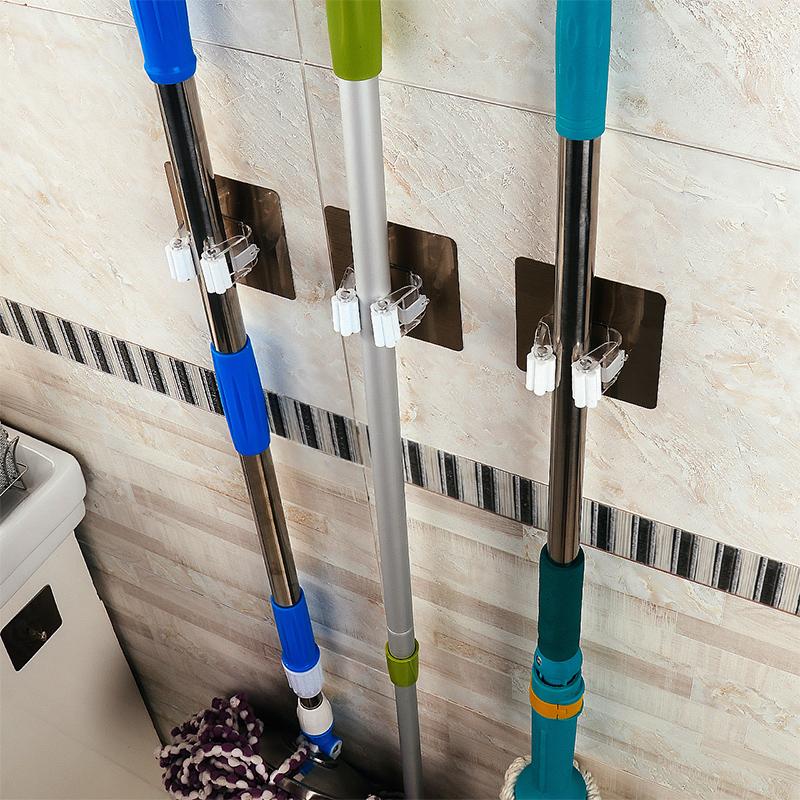 五个装 免打孔挂钩浴室厨房置物架拖把架夹优惠券