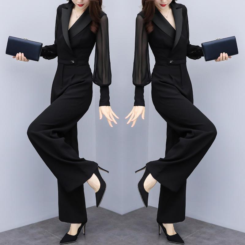 黑色连体裤秋季长袖修身显瘦高腰休闲优惠券