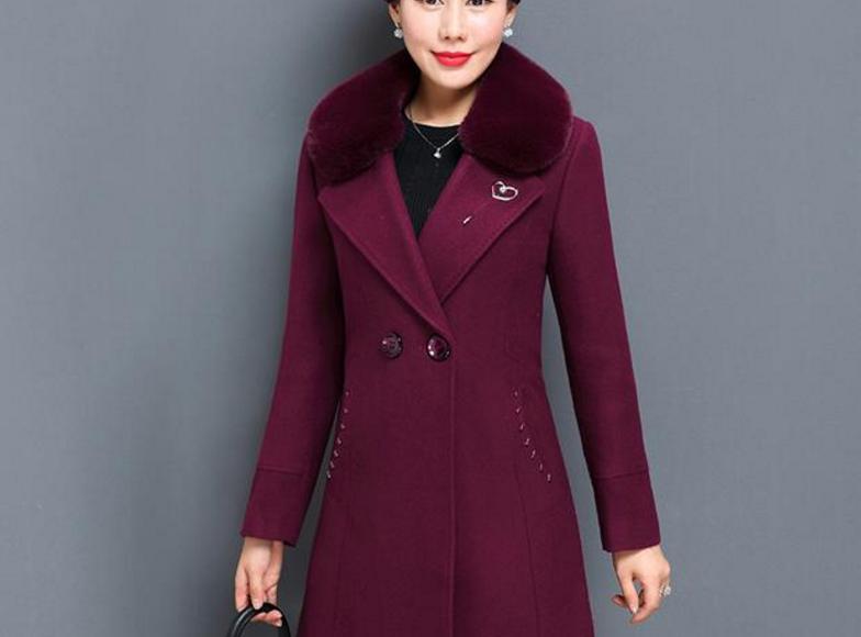 羊毛呢毛领外套女40-50岁大衣优惠券