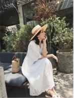 温柔仙女裙收腰少女白色冷淡风连衣裙长裙优惠券