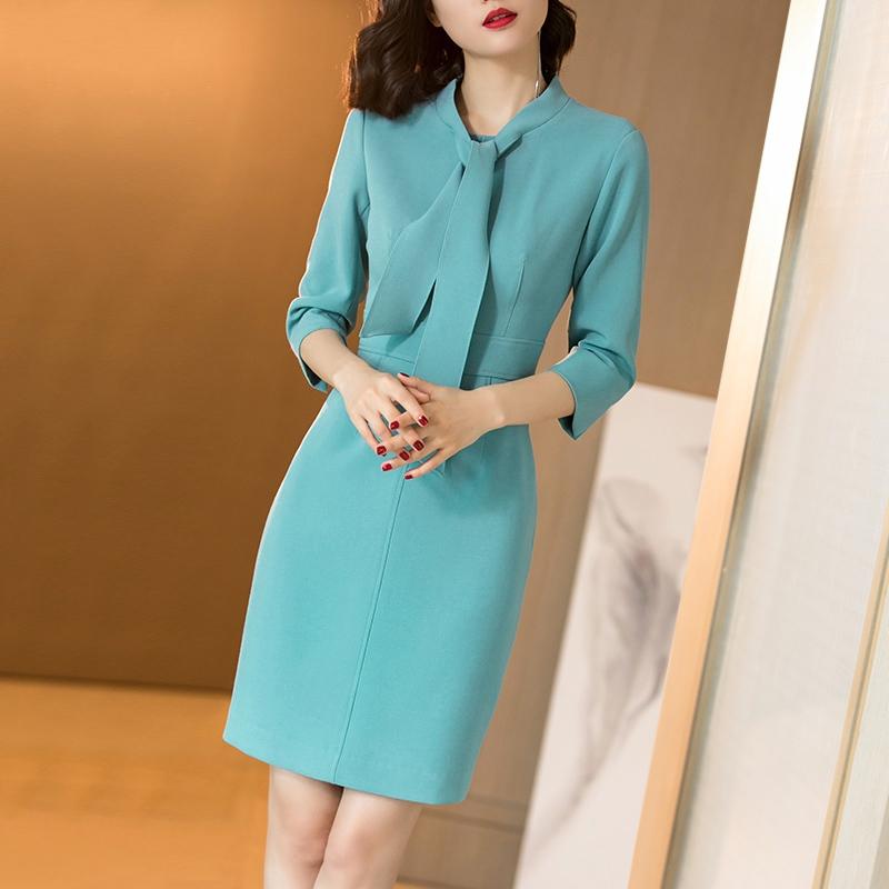 气质优雅系带收腰显瘦蓝色连衣裙优惠券