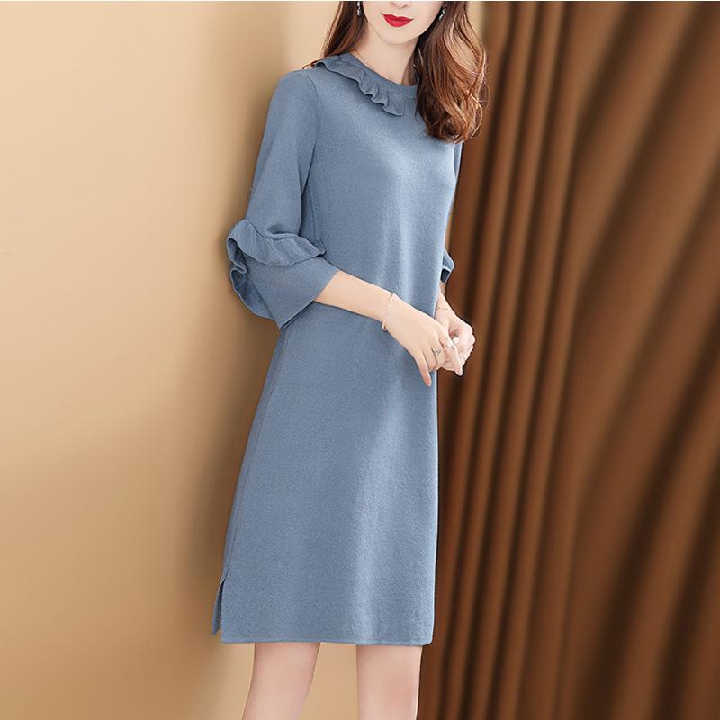纯色七分袖宽松打底毛衣裙优惠券