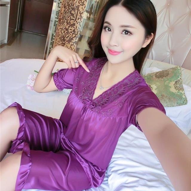 女士冰丝短袖套装加薄款家居服睡衣优惠券