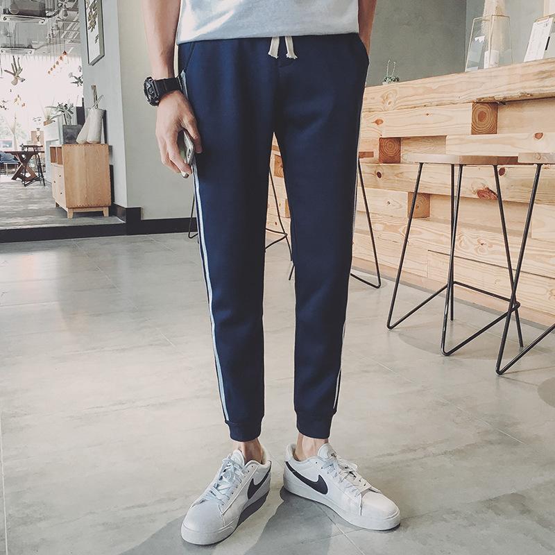 韩版小脚纯棉卫裤两条杠运动裤男小脚九分裤优惠券