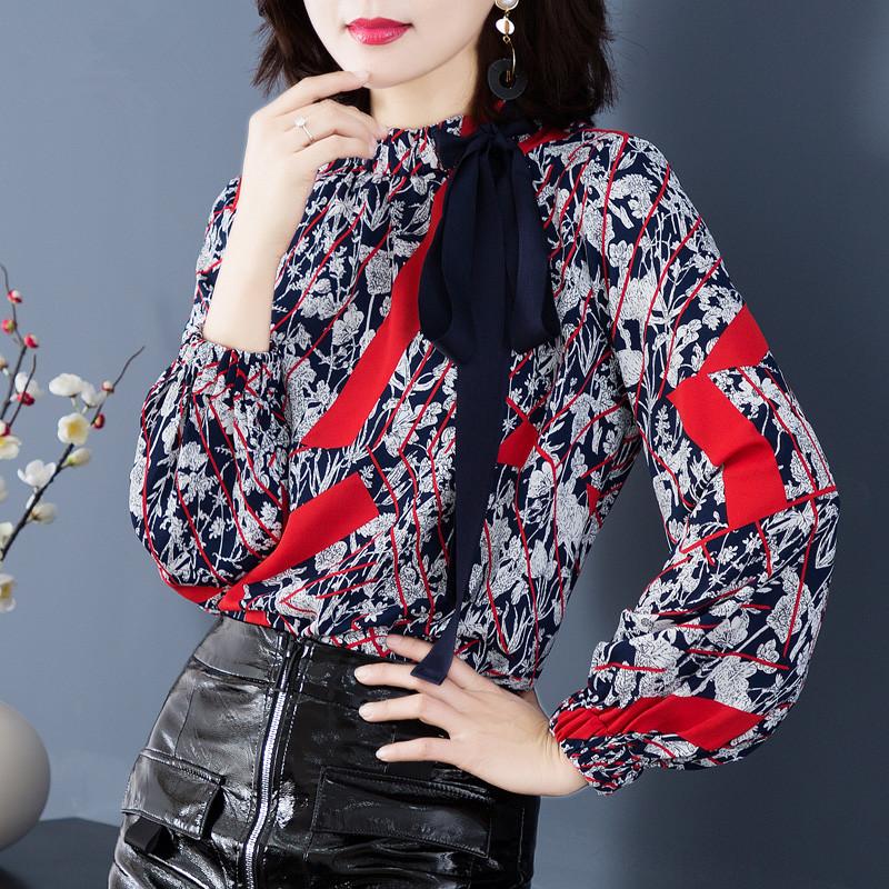 洋气衬衫女潮立领长袖宽松显瘦印花雪纺衬衣1214优惠券