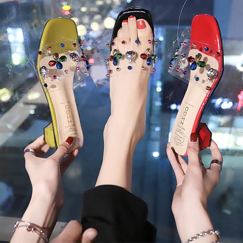 2019夏季甜美新款高跟透明水晶铆钉水钻粗跟室外女拖鞋优惠券
