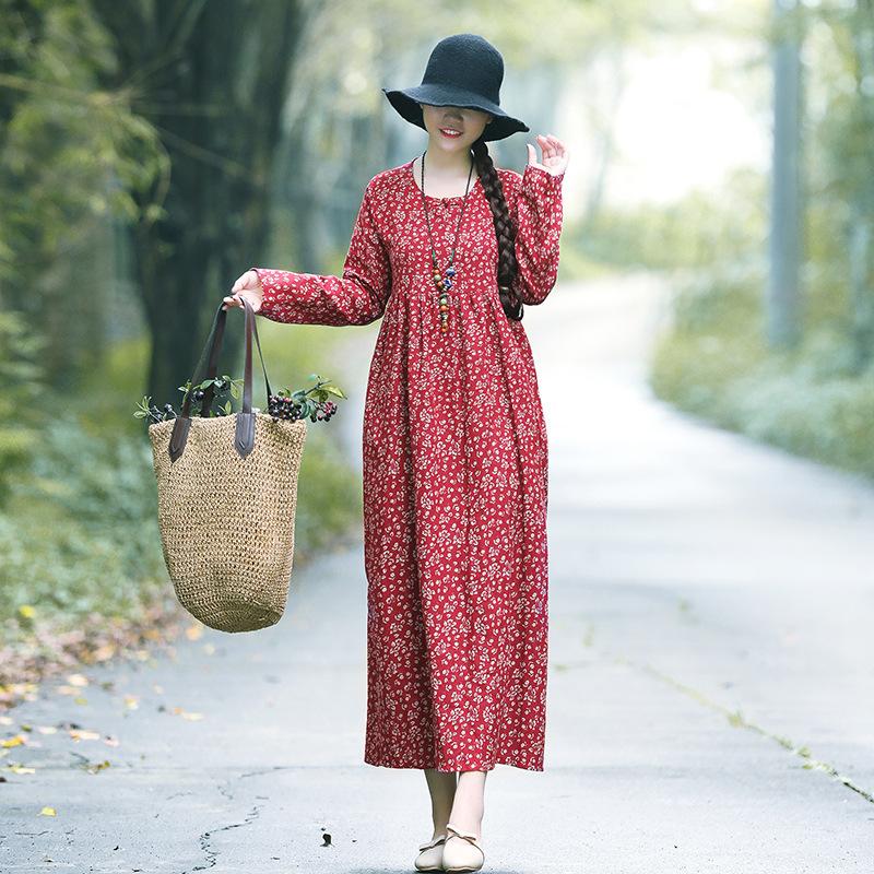棉麻民族风宽松显瘦印花复古盘扣长袖长裙优惠券