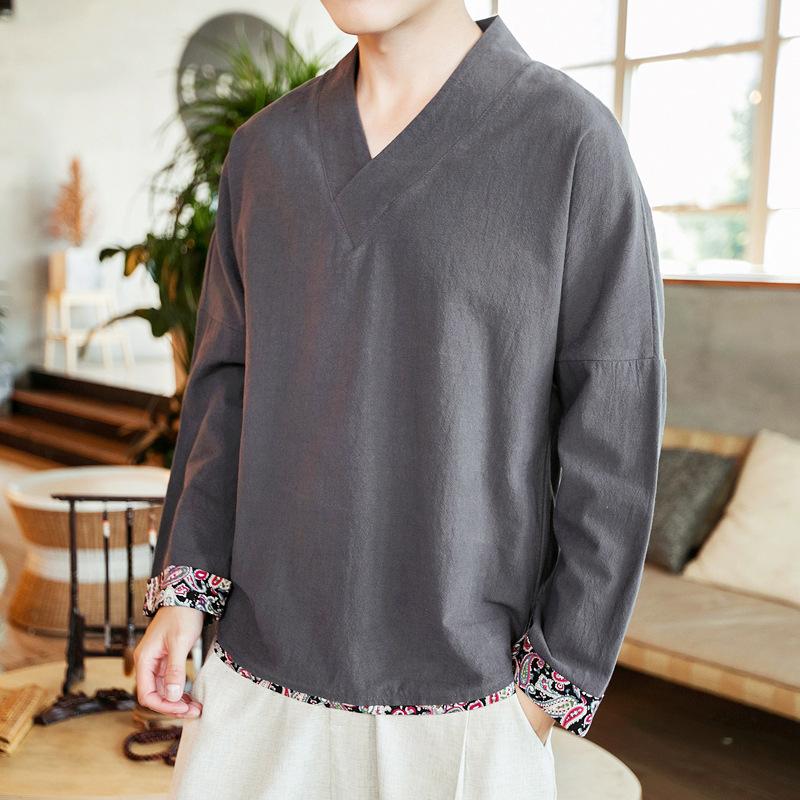 中国风棉麻长袖中式汉服V领上衣唐装大码亚优惠券