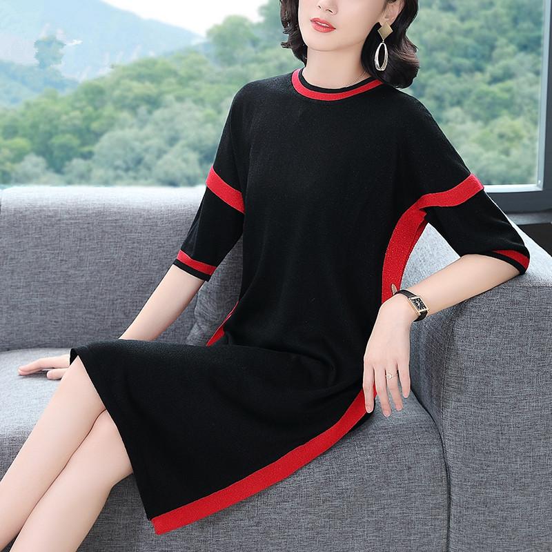 新款时尚九分袖宽松拼接中长款裙优惠券