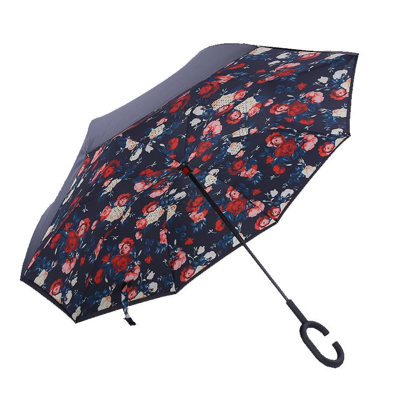 反向汽车双层伞布雨伞防风防晒不湿车的雨伞
