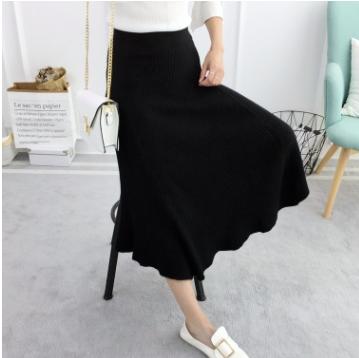 新款韩版女装时尚高腰针织中长款a字裙优惠券