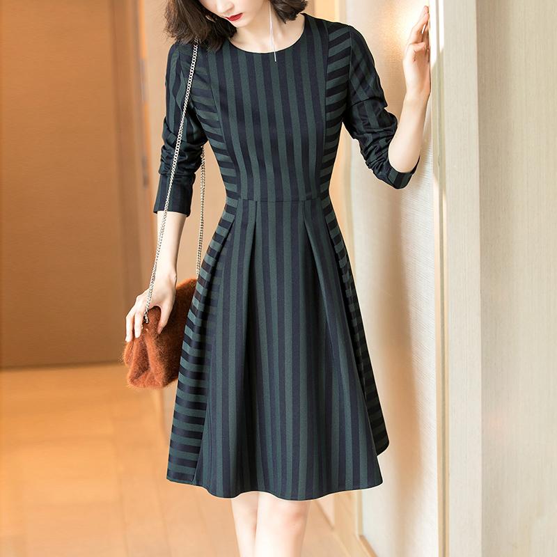 知性优雅不对称条纹修身显瘦连衣裙优惠券