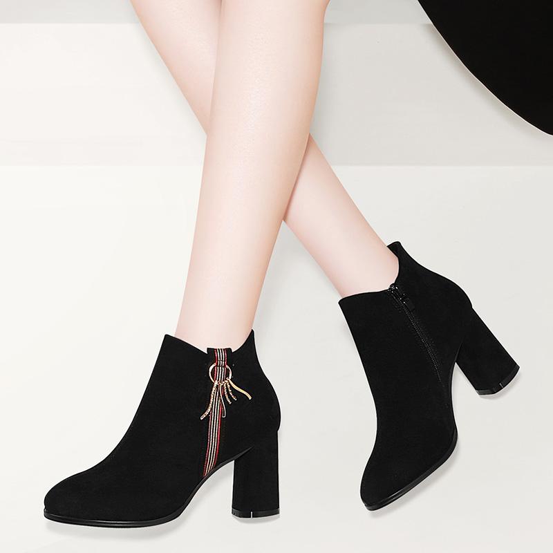 女秋冬季新款高跟马丁靴百搭秋季靴子女优惠券