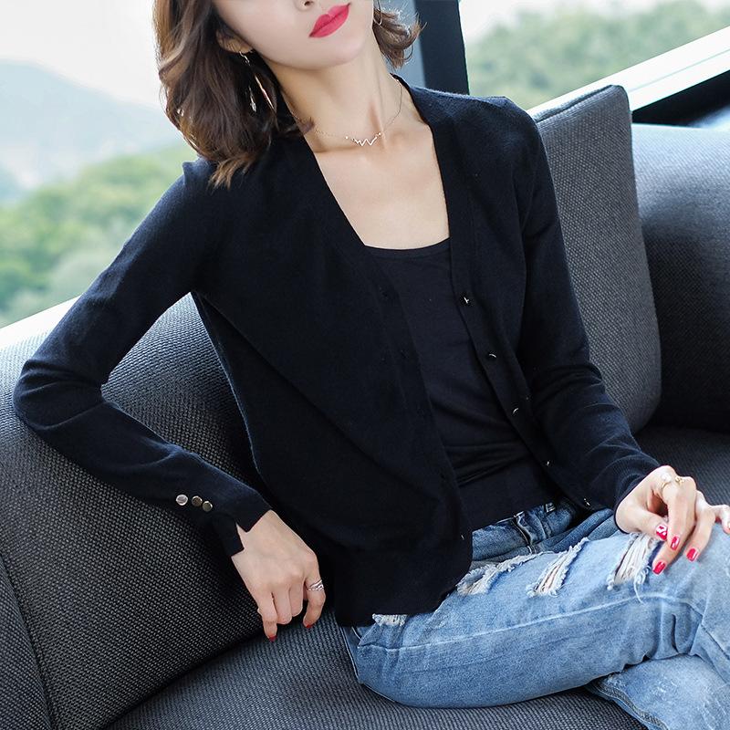 针织纯色开衫薄款毛衣女装优惠券