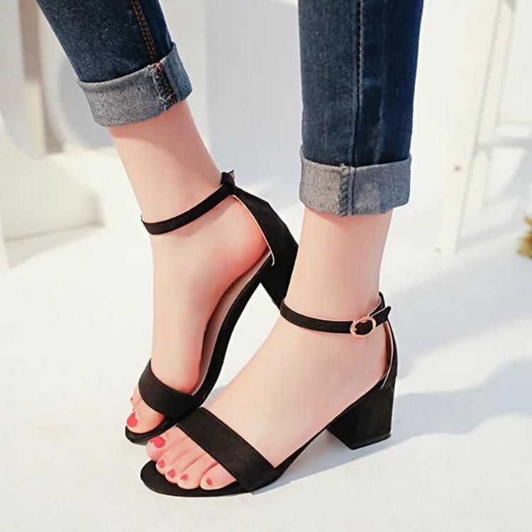 ESX夏中跟粗跟露趾舒适百搭女鞋优惠券