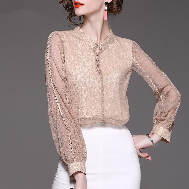 长袖蕾丝衫洋气镂空灯笼袖小衫优惠券
