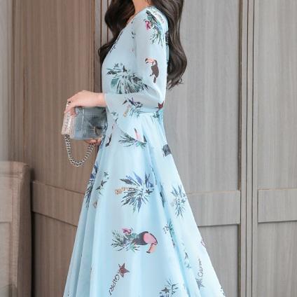 花雪纺连衣裙女喇叭长袖修身中长裙A字裙优惠券