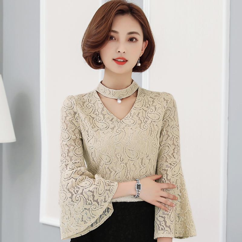 新款小衫蕾丝打底衫女喇叭袖v领上衣优惠券