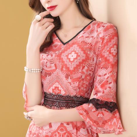2019春装新款复古蕾丝高贵连衣裙女中长款气质显瘦流行裙子9233优惠券