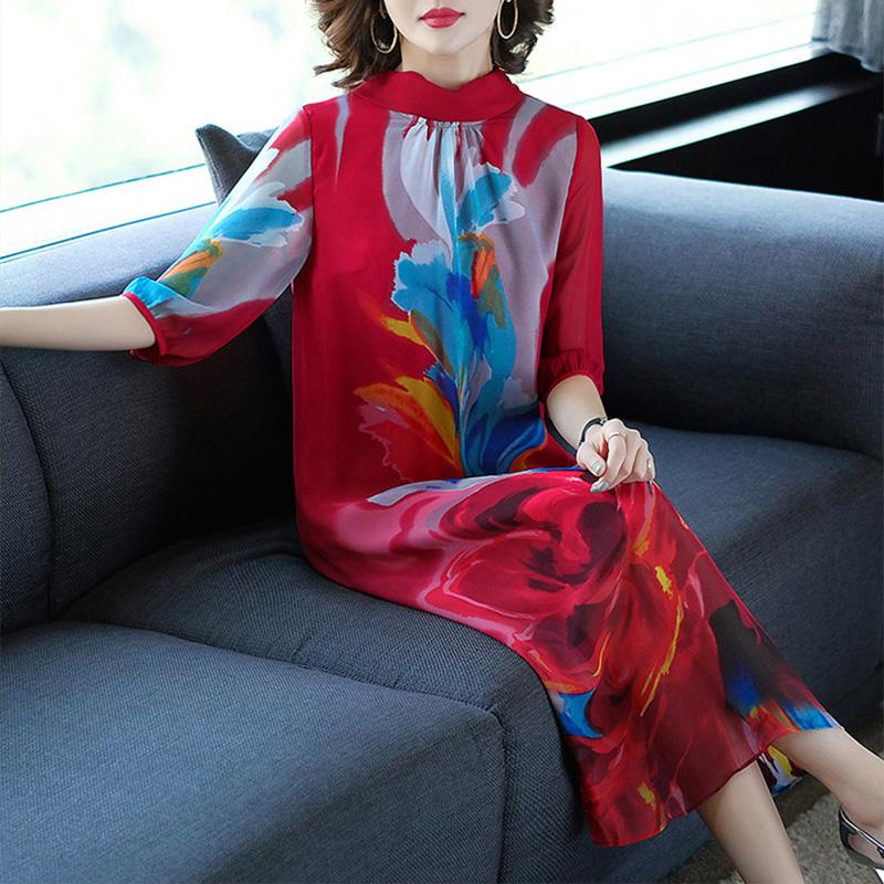 2019春装新款女装印花连衣裙中长款立领气质宽松显瘦裙子5055302优惠券