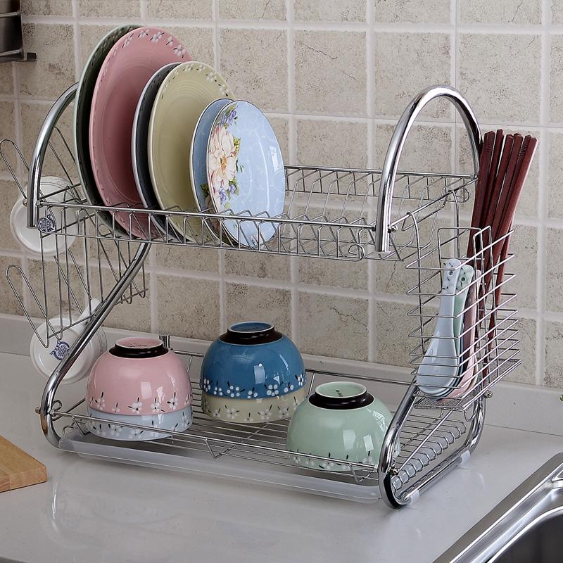 沥水架碗碟架2层厨房用品 碗架收纳碗盘架优惠券