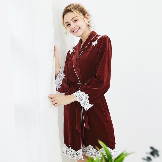 女士睡袍 长袖中厚单件外袍睡衣优惠券