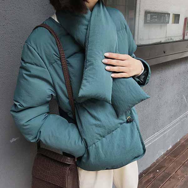 新款复古面包服羽绒棉衣女短棉衣 带围脖优惠券