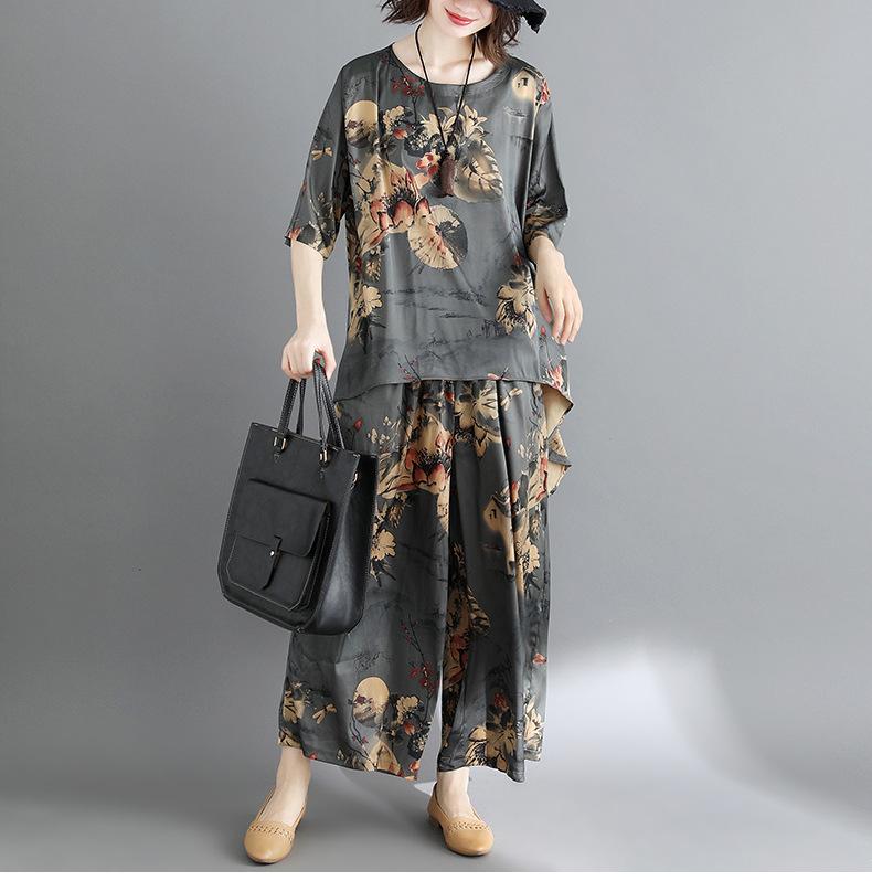 2019春夏印花套装女大码裙裤宽松中袖上衣两件套潮 KLZ8101优惠券