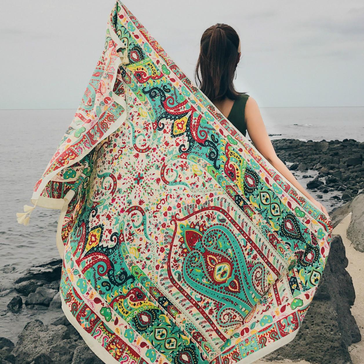 wf春夏季女海边防晒沙滩巾围巾两用披肩优惠券