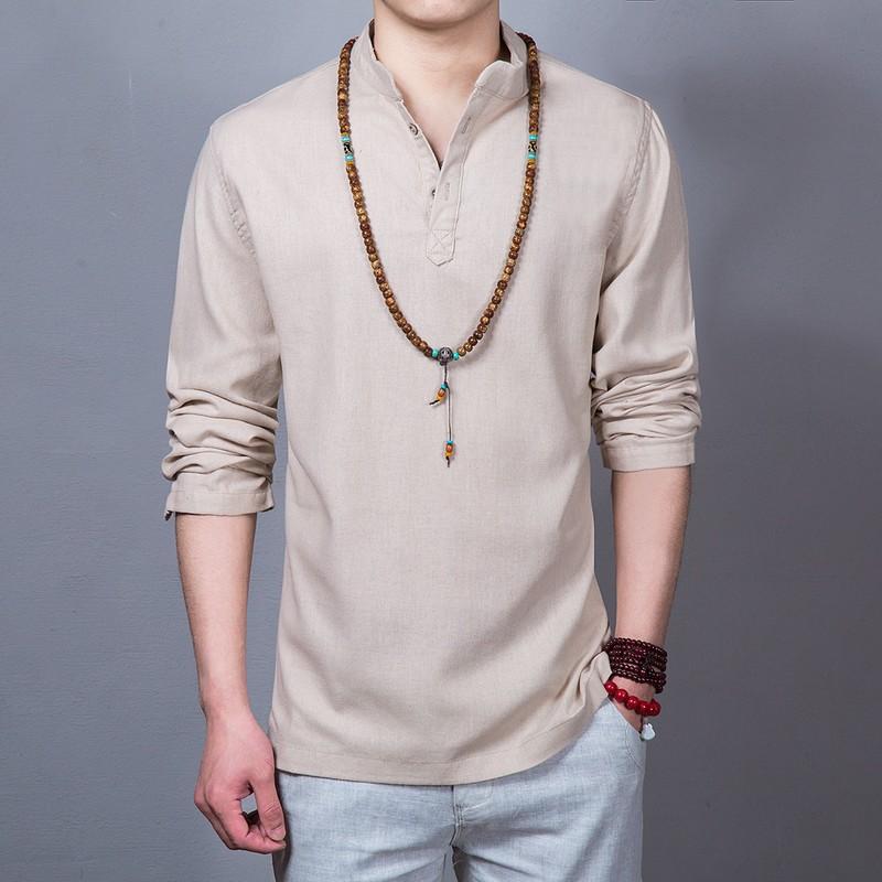 中国风男士亚麻衬衫复古男装大码长袖棉麻衬优惠券