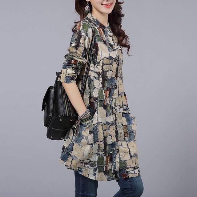 复古印花棉麻衬衣女2019春季新款中长款宽松显瘦立领衬衫优惠券