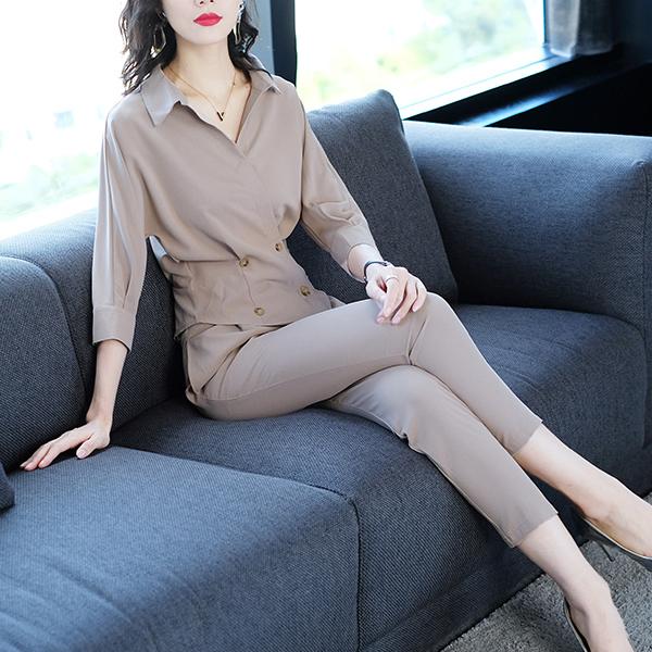 气质衬衣衬衫配裤子小脚裤两件套装女优惠券