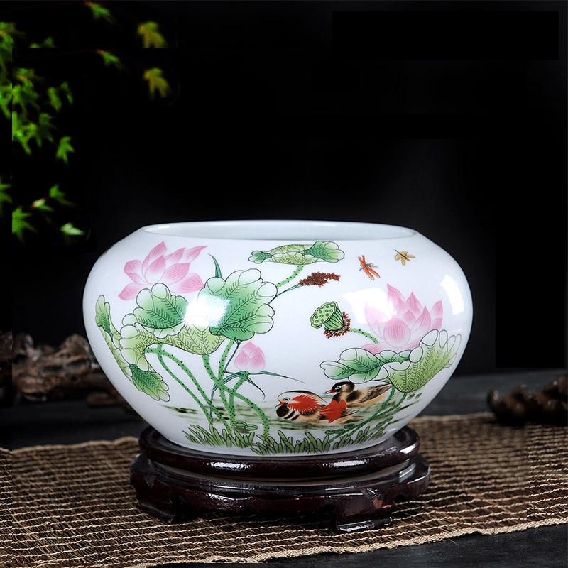 景德镇陶瓷器工艺品摆件小金鱼缸水洗笔优惠券
