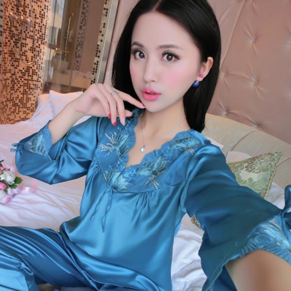 女款长袖丝绸套装睡衣家居服优惠券