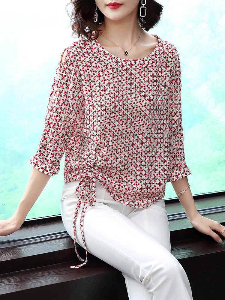 新款夏季欧美时尚女装短袖圆领时尚系带衬衫优惠券