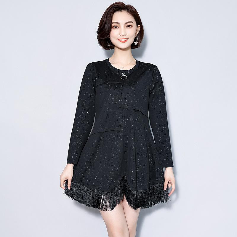 新款大码女装显瘦不规则打底连衣裙长袖优惠券