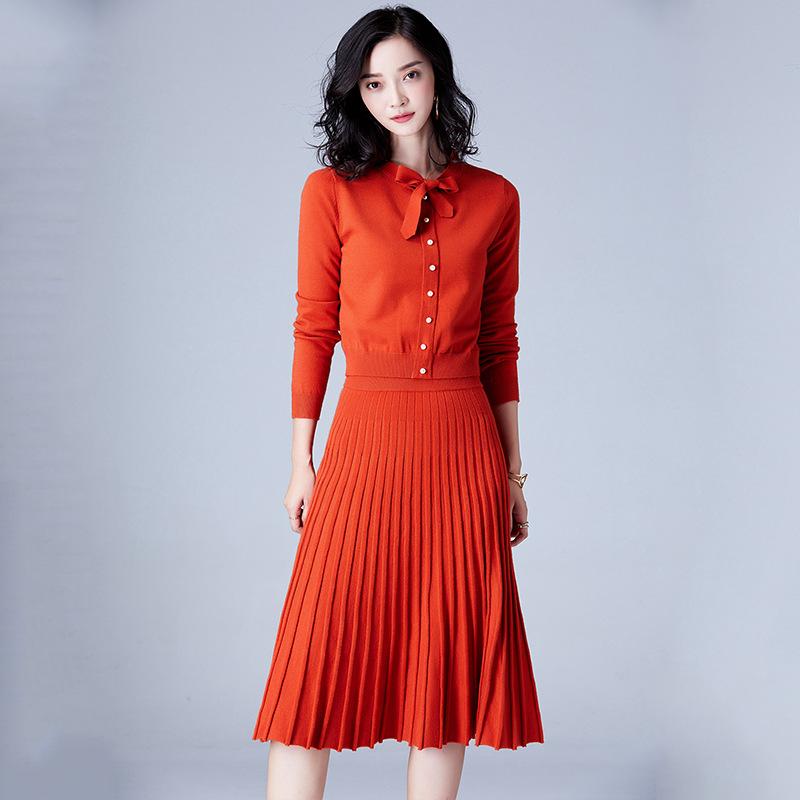 秋冬新款打底裙蝴蝶结纯色连衣裙针织两件套优惠券