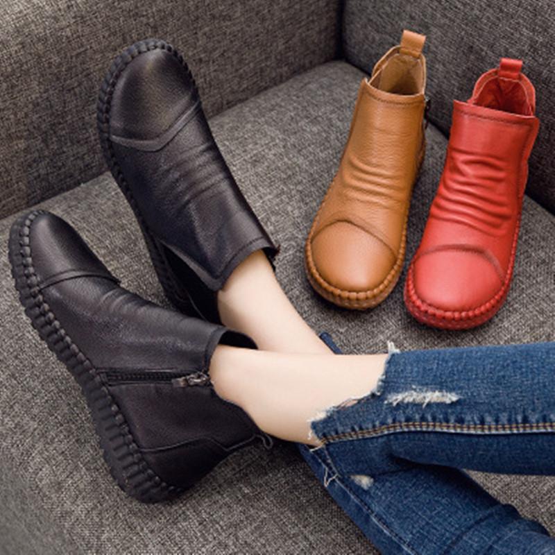 秋冬新款女鞋女靴手工短靴女平底短筒休闲优惠券