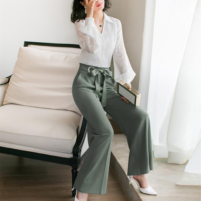 春季洋气阔腿裤套装女春装2019新款初春时尚气质小香风两件套优惠券