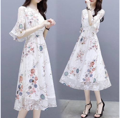 雪纺连衣裙气质温柔裙超仙显瘦碎花裙子A4优惠券
