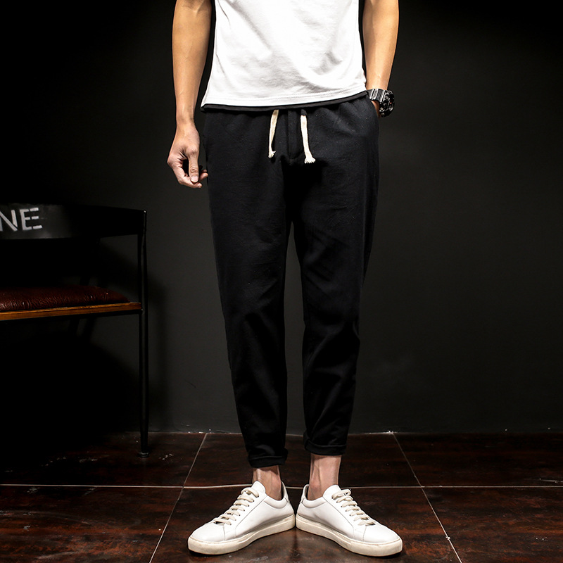 男式薄款纯色休闲夏季系带裤男优惠券