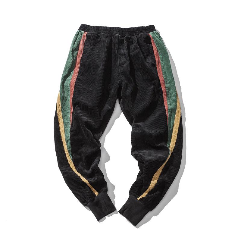 秋季男式休闲裤原创复古撞色水洗拼接束脚优惠券