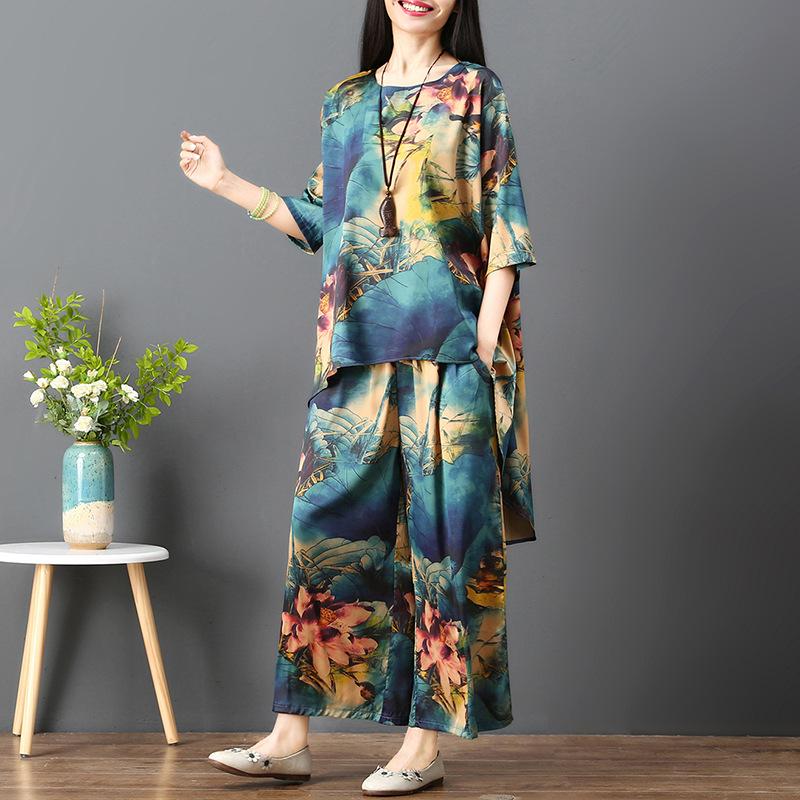 套装女大码裙裤2019春夏新款宽松中袖上衣两件套 KLZ8098优惠券