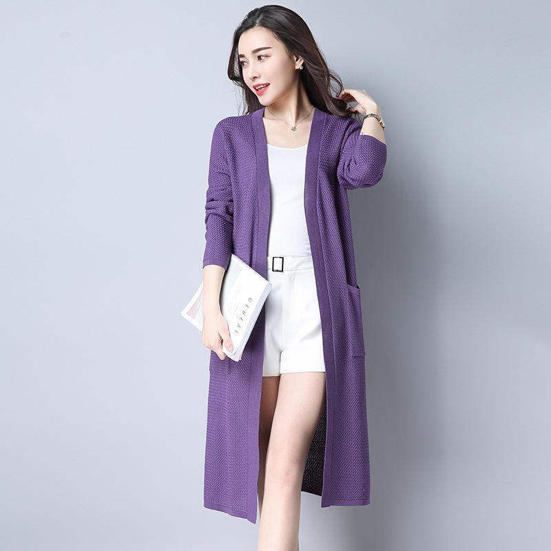 秋季新款韩版纯色V领中长款针织衫长袖优惠券