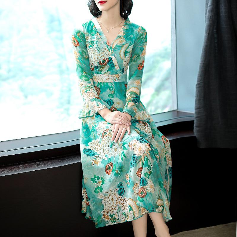 新款长袖v领泡泡袖长裙女装优惠券